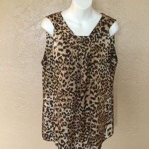 Calvin Klein Silky Leopard Print Shirt L Tank EUC